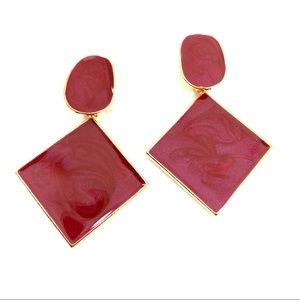 Burgundy and gold fashion statement earrings (v)